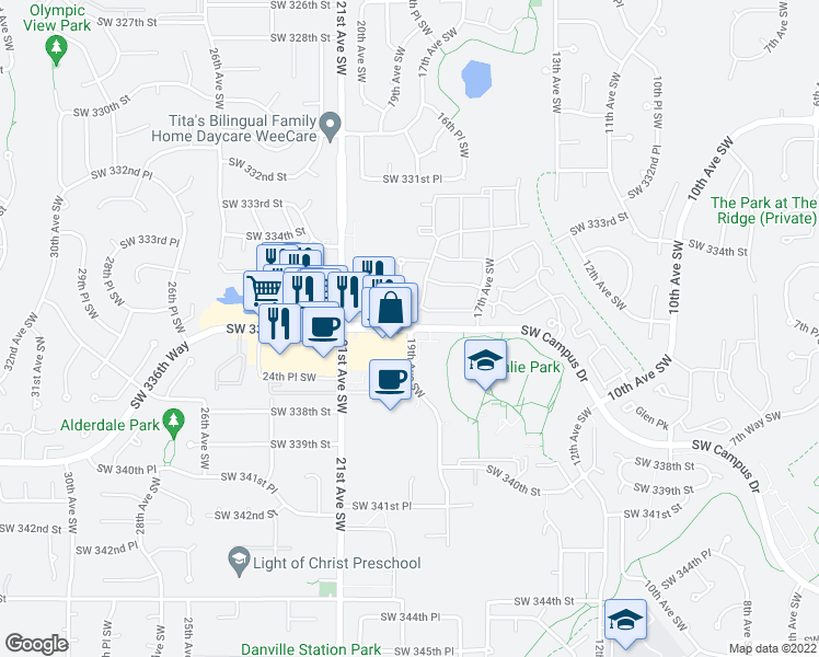 map of restaurants, bars, coffee shops, grocery stores, and more near Southwest 344th Place in Federal Way