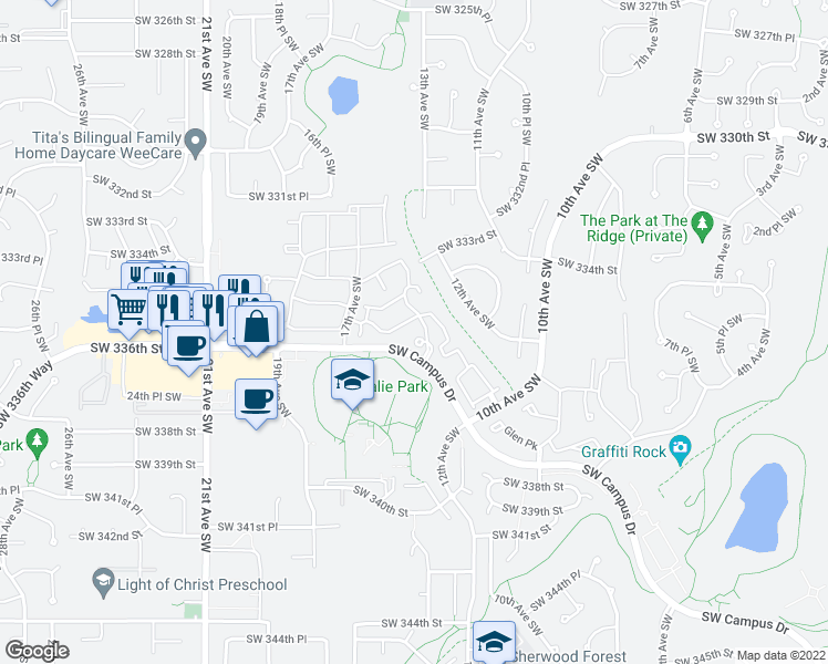 map of restaurants, bars, coffee shops, grocery stores, and more near 1300 Southwest Campus Drive in Federal Way