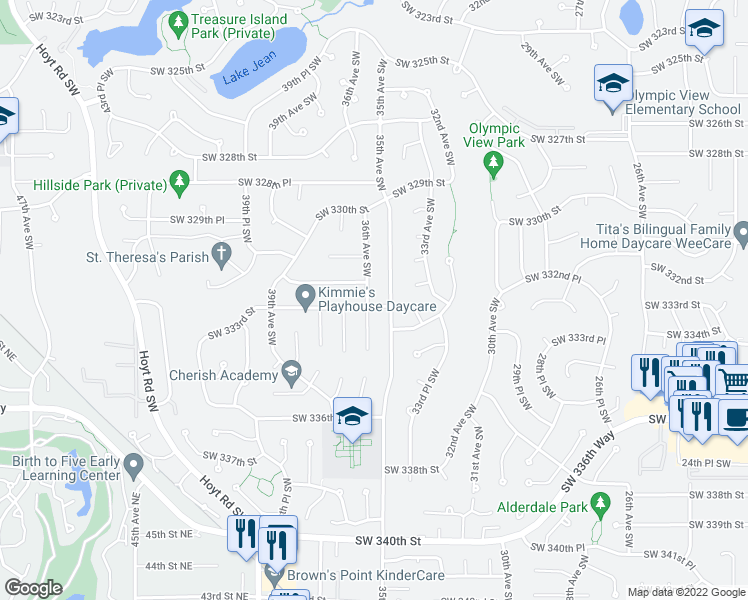 map of restaurants, bars, coffee shops, grocery stores, and more near 33150 36th Avenue Southwest in Federal Way