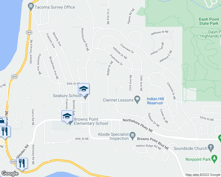 map of restaurants, bars, coffee shops, grocery stores, and more near 5411 Ridge Drive Northeast in Tacoma