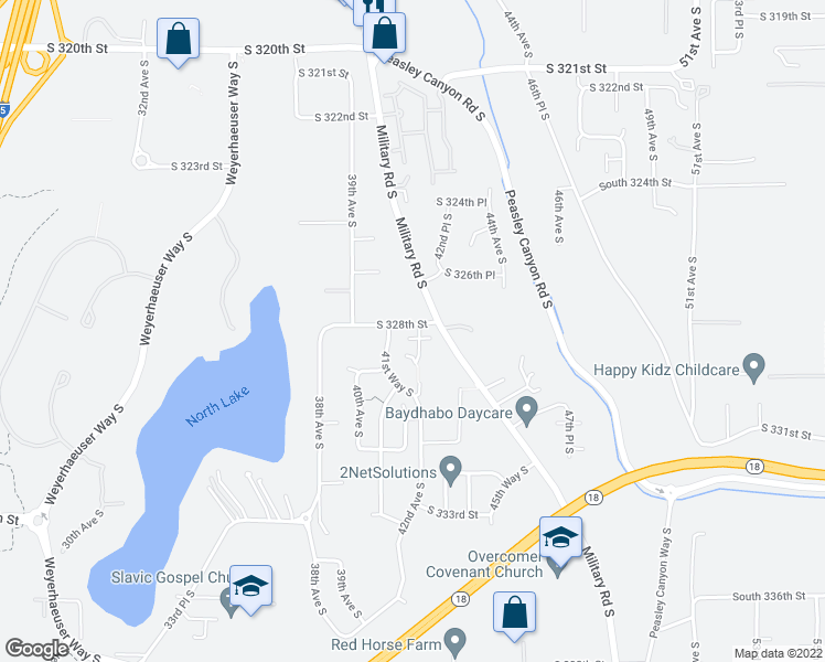 map of restaurants, bars, coffee shops, grocery stores, and more near 32818 42nd Avenue South in Federal Way