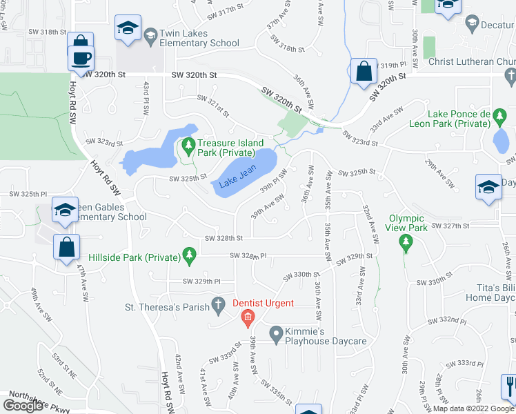 map of restaurants, bars, coffee shops, grocery stores, and more near 32701 39th Avenue Southwest in Federal Way