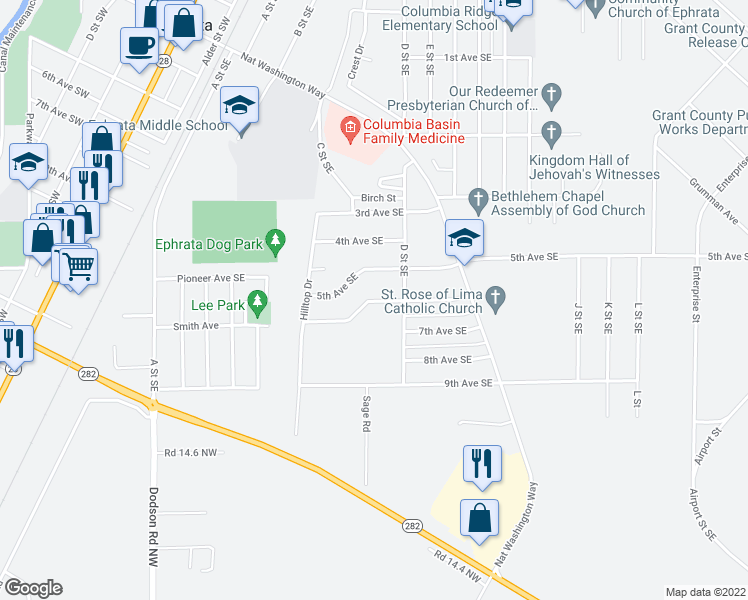 map of restaurants, bars, coffee shops, grocery stores, and more near 6th Avenue Southeast in Ephrata