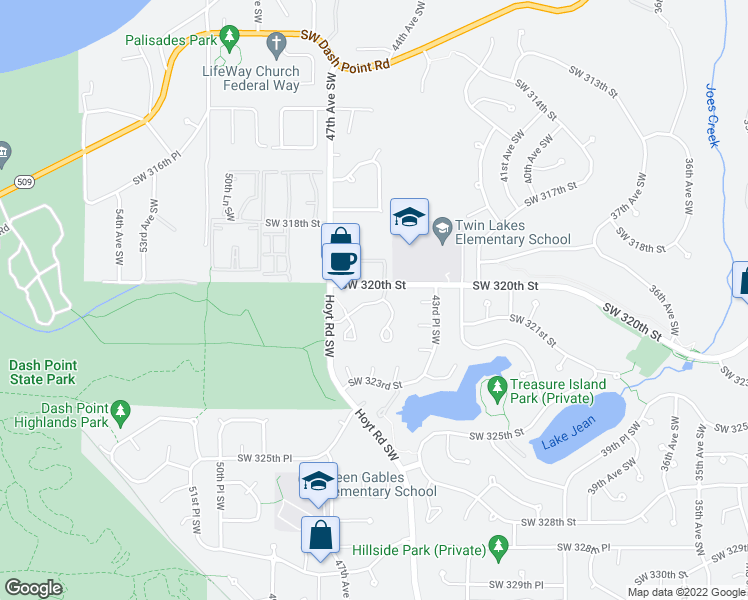map of restaurants, bars, coffee shops, grocery stores, and more near 4519 Southwest 321st Street in Federal Way