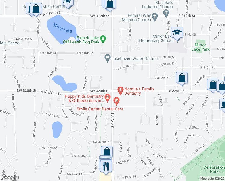 map of restaurants, bars, coffee shops, grocery stores, and more near 1st Ave S & SW 320th St in Federal Way