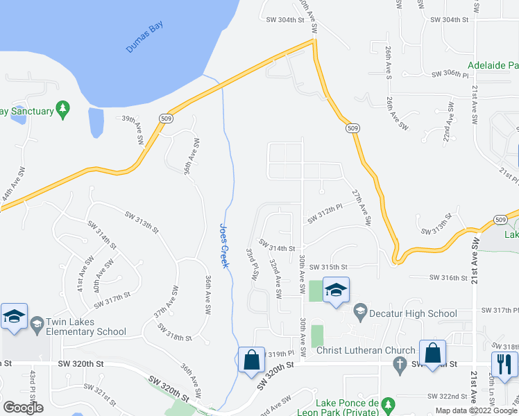 map of restaurants, bars, coffee shops, grocery stores, and more near 33rd Place Southwest in Federal Way