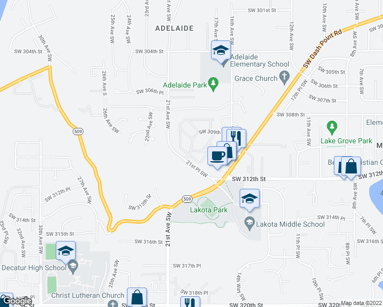 map of restaurants, bars, coffee shops, grocery stores, and more near 31004 19th Place Southwest in Federal Way