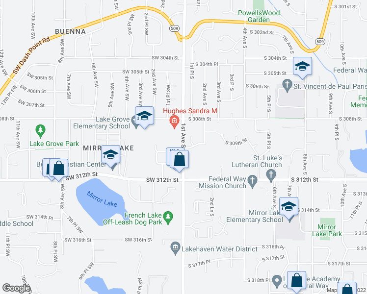 map of restaurants, bars, coffee shops, grocery stores, and more near 30813 1st Place South in Federal Way