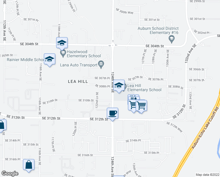 map of restaurants, bars, coffee shops, grocery stores, and more near 30819 124th Avenue Southeast in Auburn