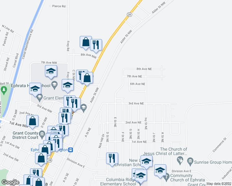 map of restaurants, bars, coffee shops, grocery stores, and more near 340 E Street Northeast in Ephrata