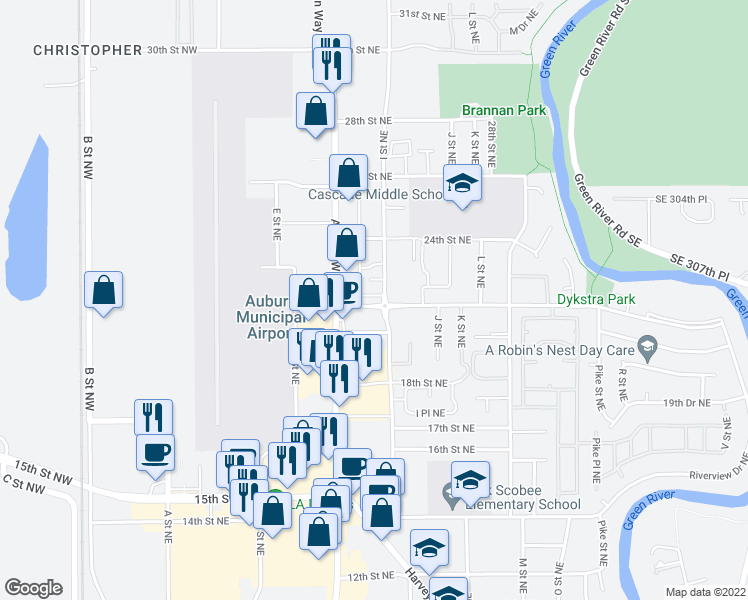 map of restaurants, bars, coffee shops, grocery stores, and more near 2205 I Street Northeast in Auburn