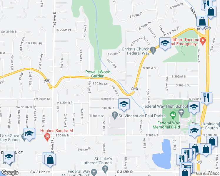 map of restaurants, bars, coffee shops, grocery stores, and more near 30205 7th Avenue South in Federal Way