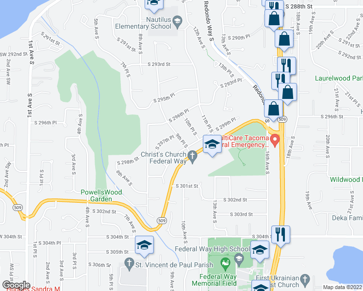map of restaurants, bars, coffee shops, grocery stores, and more near 898 South 299th Place in Federal Way