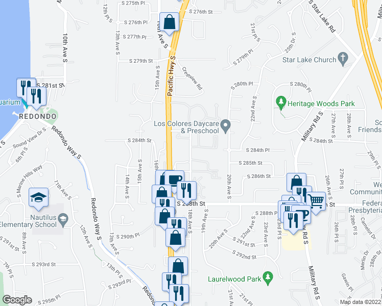 map of restaurants, bars, coffee shops, grocery stores, and more near 1820 South 285th Place in Federal Way