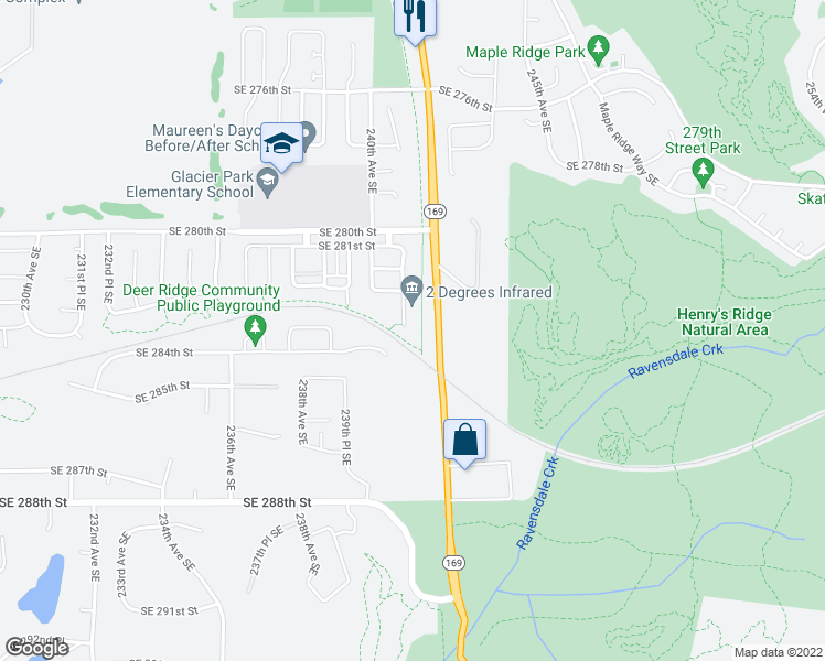 map of restaurants, bars, coffee shops, grocery stores, and more near 23944 Southeast 284th Street in Maple Valley