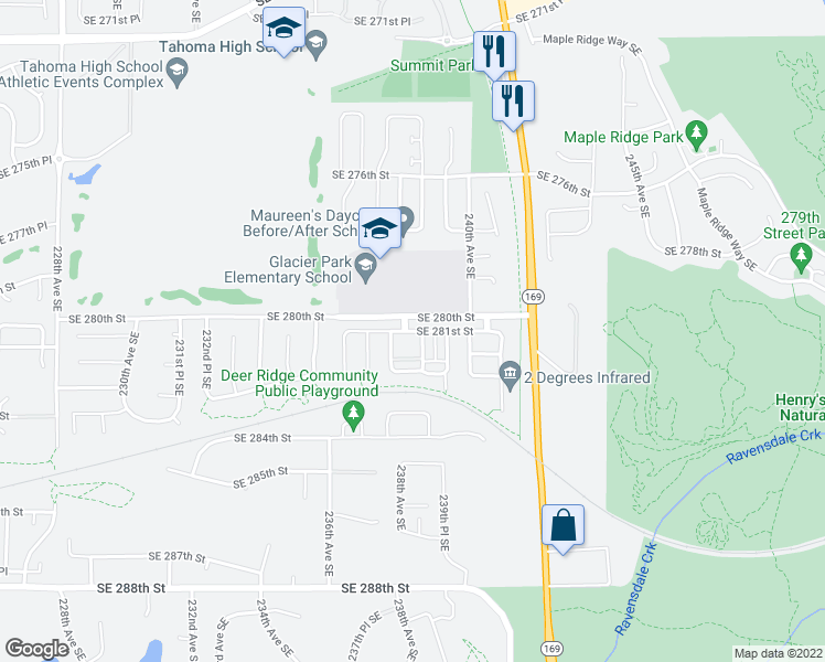 map of restaurants, bars, coffee shops, grocery stores, and more near 23824 Southeast 281st Street in Maple Valley