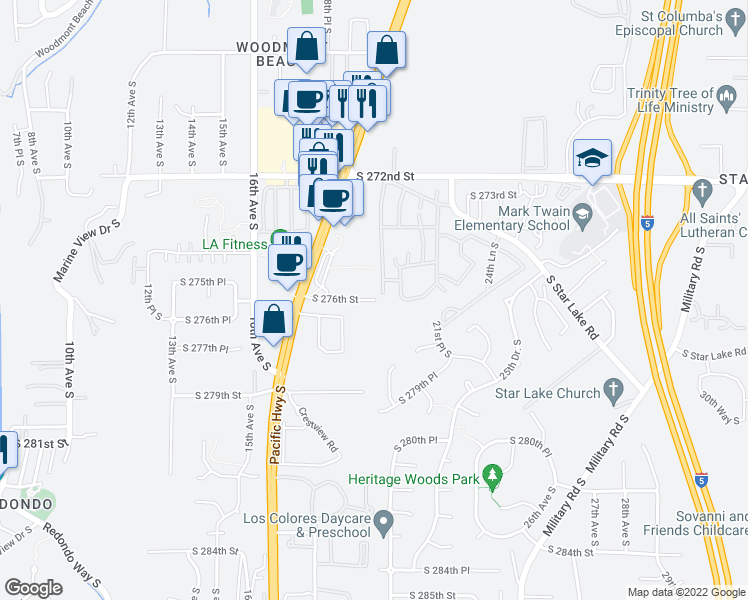 map of restaurants, bars, coffee shops, grocery stores, and more near South 276th Street in Federal Way