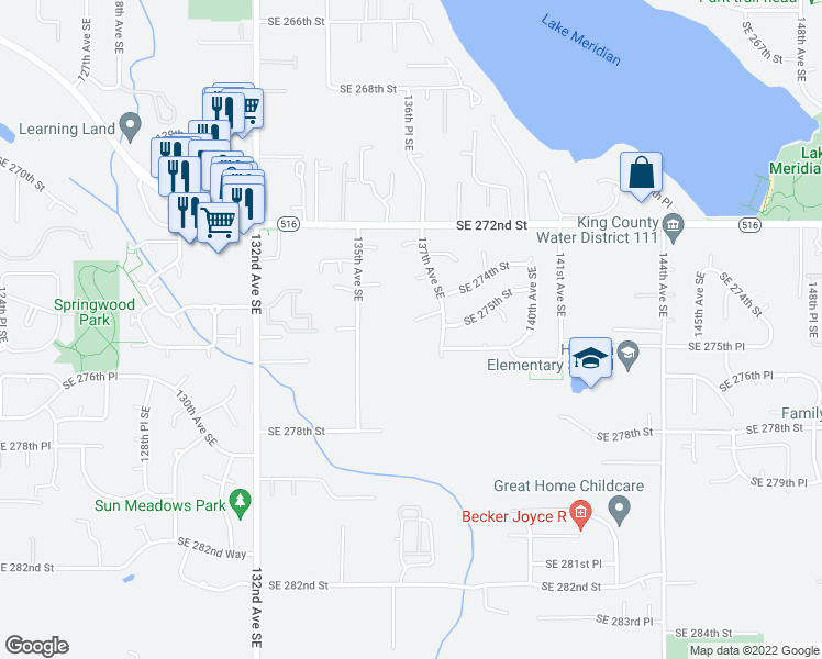 map of restaurants, bars, coffee shops, grocery stores, and more near 13609 Southeast 274th Place in Kent
