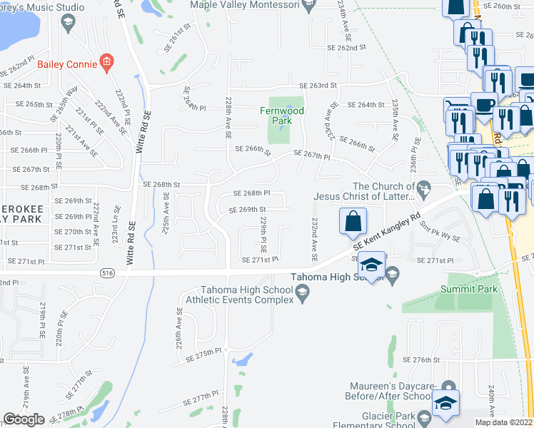 map of restaurants, bars, coffee shops, grocery stores, and more near 23706 229th Place Southeast in Maple Valley