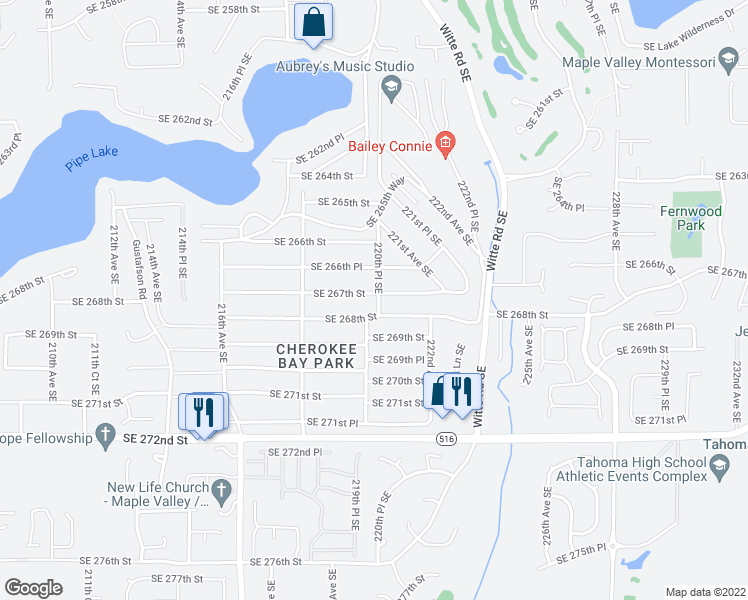 map of restaurants, bars, coffee shops, grocery stores, and more near 21871 Southeast 267th Street in Maple Valley