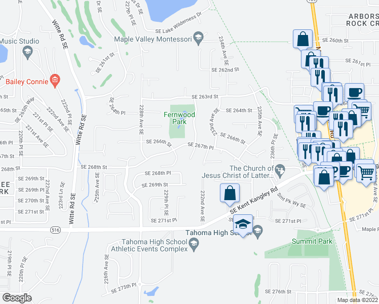 map of restaurants, bars, coffee shops, grocery stores, and more near 26765 231st Place Southeast in Maple Valley