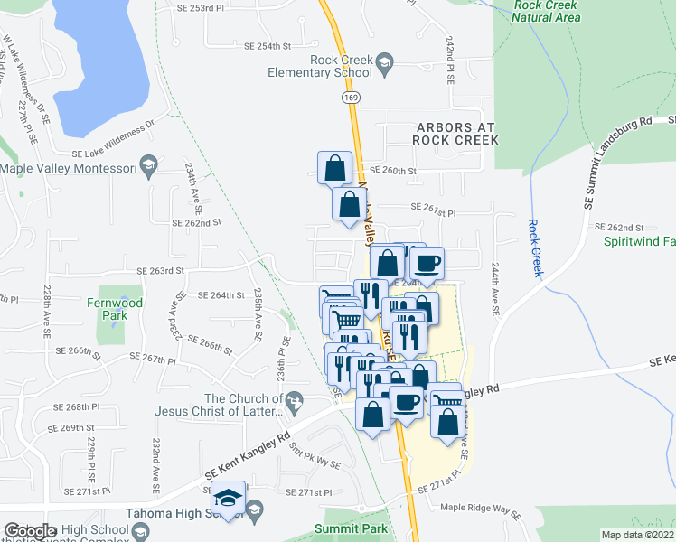 map of restaurants, bars, coffee shops, grocery stores, and more near 26285 238th Avenue Southeast in Maple Valley