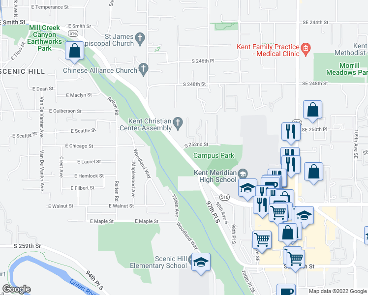 map of restaurants, bars, coffee shops, grocery stores, and more near 9588-9598 Canyon Drive in Kent