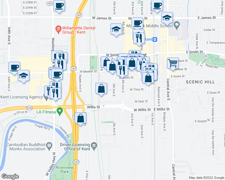 map of restaurants, bars, coffee shops, grocery stores, and more near 619 West Saar Street in Kent
