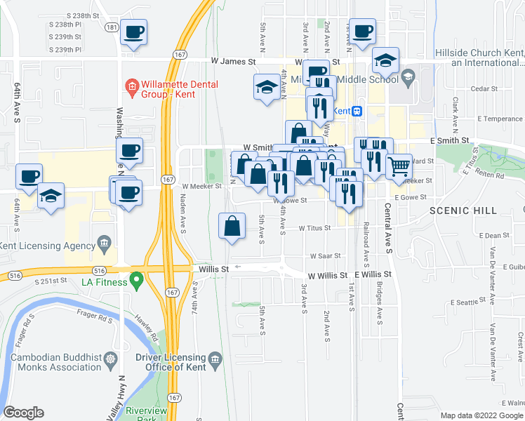 map of restaurants, bars, coffee shops, grocery stores, and more near 216 5th Avenue South in Kent
