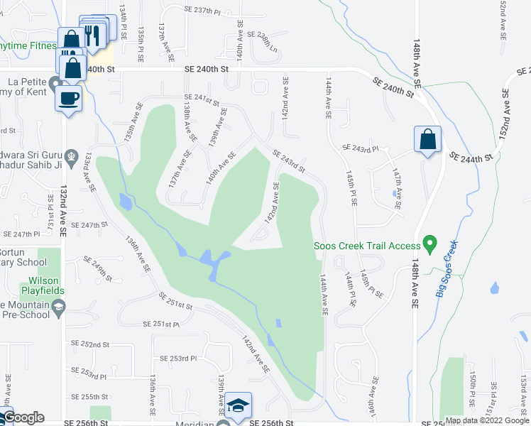 map of restaurants, bars, coffee shops, grocery stores, and more near 24605 142nd Avenue Southeast in Kent