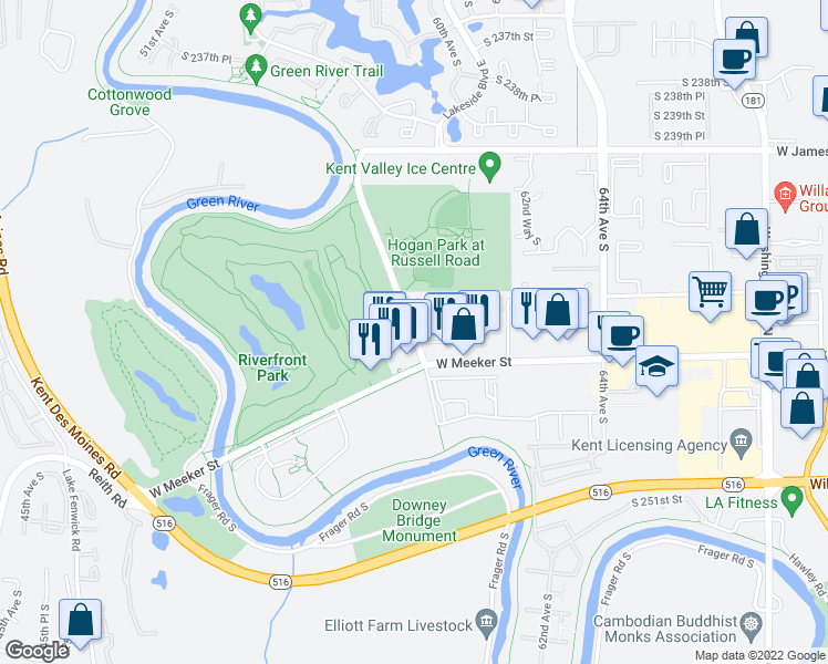map of restaurants, bars, coffee shops, grocery stores, and more near 24740-24760 Russell Road in Kent