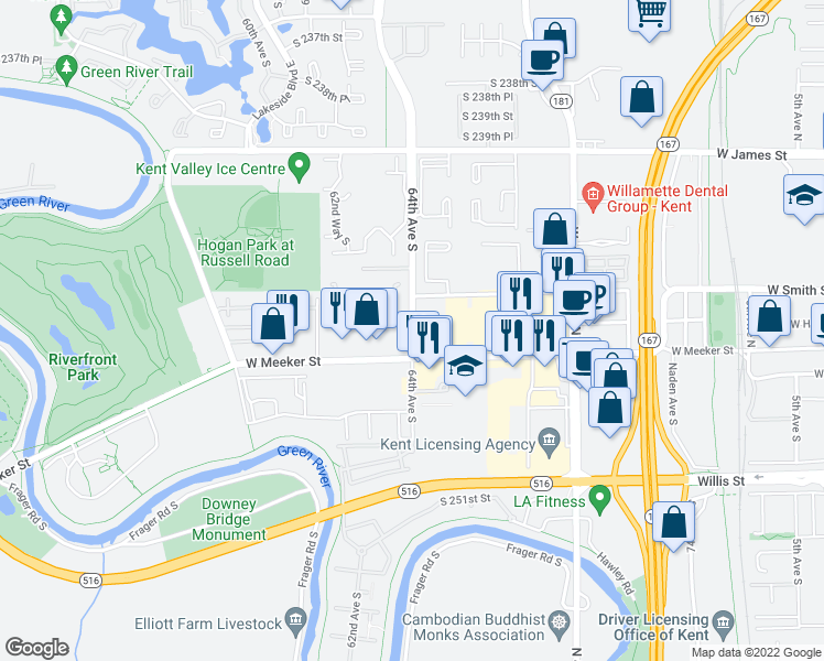 map of restaurants, bars, coffee shops, grocery stores, and more near 24510 64th Avenue South in Kent