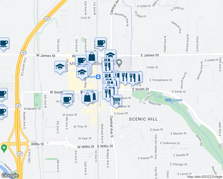 map of restaurants, bars, coffee shops, grocery stores, and more near 317 East Smith Street in Kent