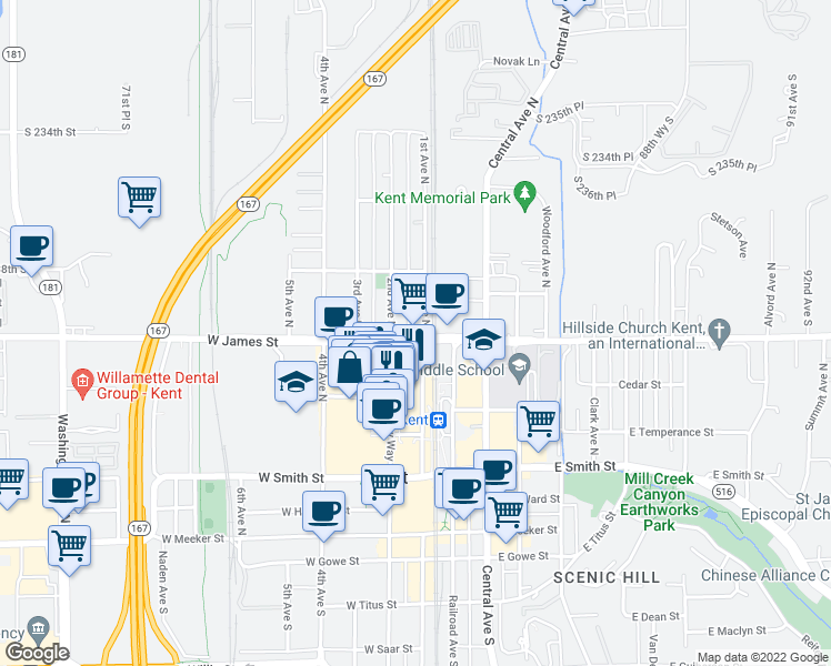 map of restaurants, bars, coffee shops, grocery stores, and more near 209 West James Street in Kent