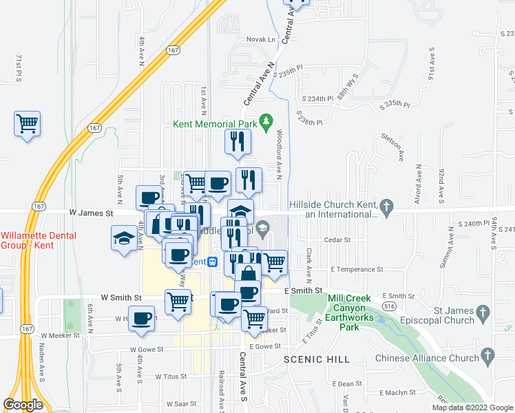 map of restaurants, bars, coffee shops, grocery stores, and more near 705 State Avenue North in Kent