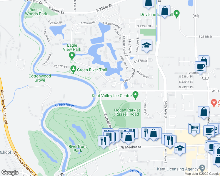 map of restaurants, bars, coffee shops, grocery stores, and more near 23957 58th Court South in Kent