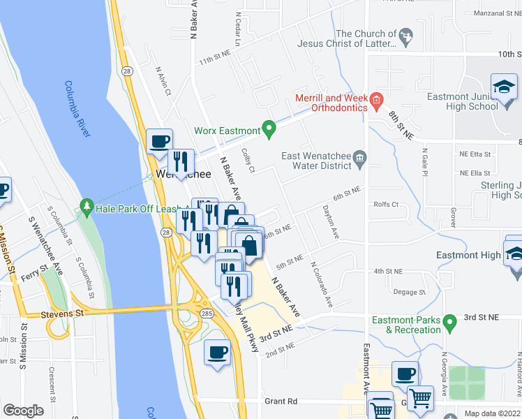 map of restaurants, bars, coffee shops, grocery stores, and more near 615 N Baker Ave in East Wenatchee