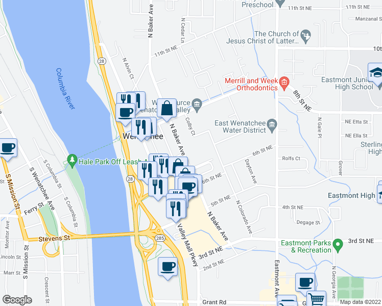 map of restaurants, bars, coffee shops, grocery stores, and more near 657 North Baker Avenue in East Wenatchee