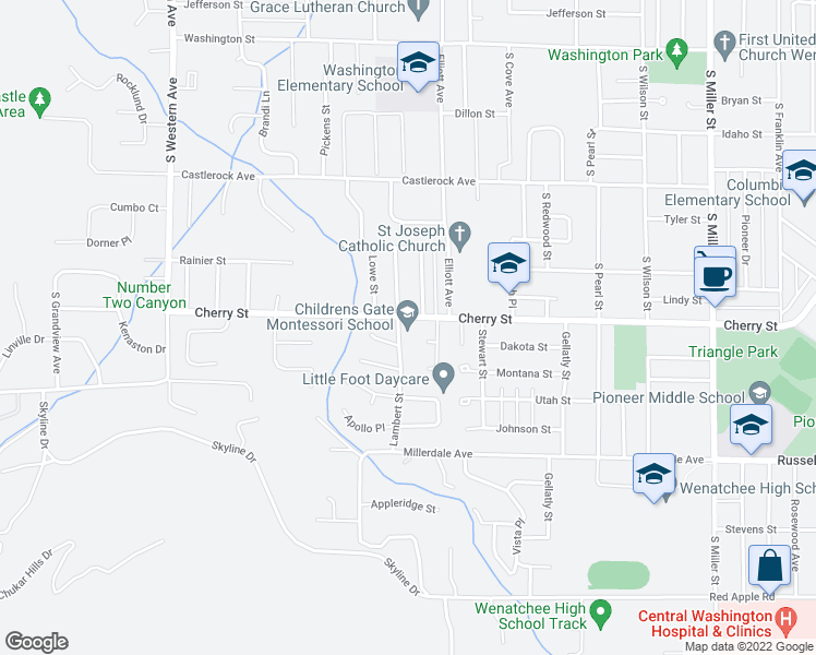 map of restaurants, bars, coffee shops, grocery stores, and more near 704 Kriewald Court in Wenatchee
