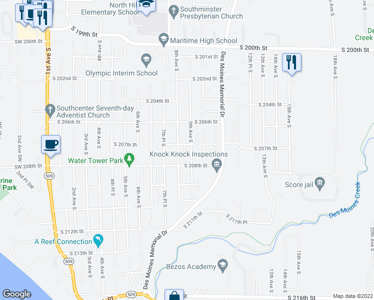 map of restaurants, bars, coffee shops, grocery stores, and more near 20724 8th Avenue South in Des Moines