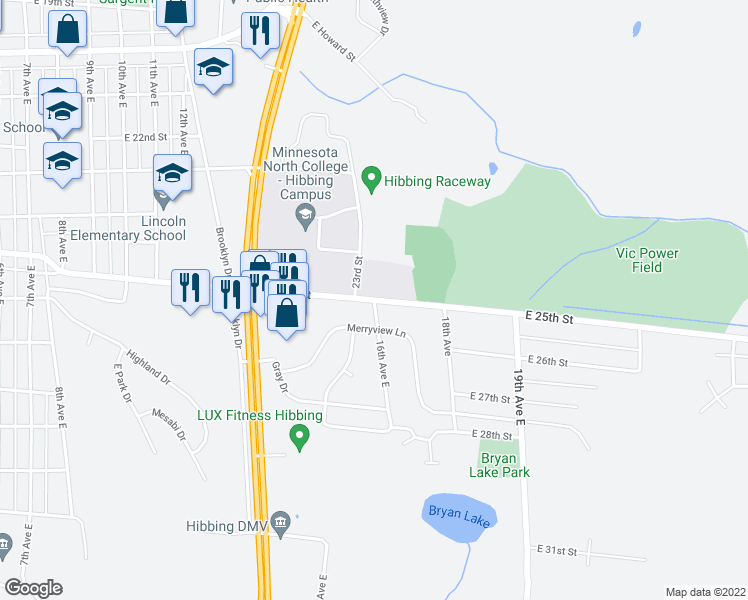 map of restaurants, bars, coffee shops, grocery stores, and more near 16th Avenue East in Hibbing