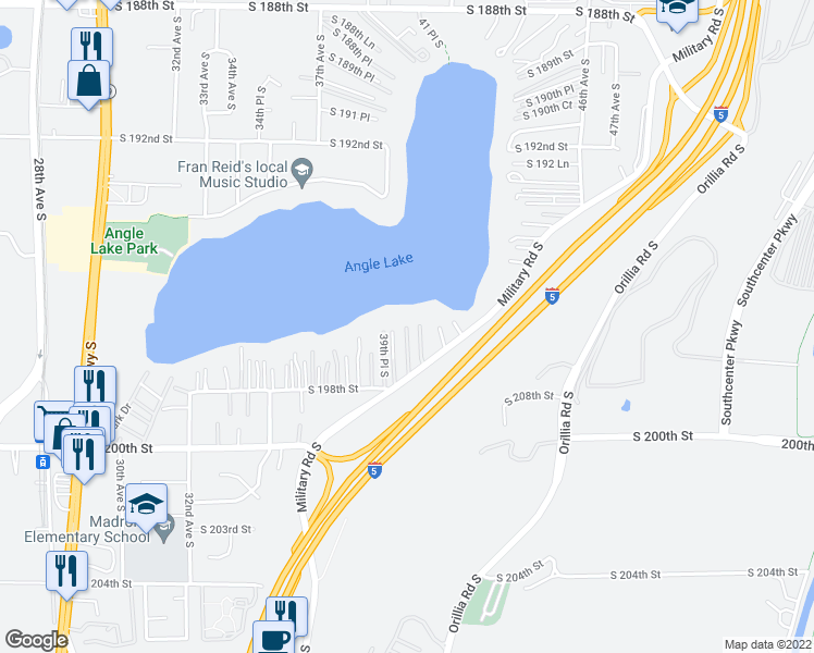 map of restaurants, bars, coffee shops, grocery stores, and more near 41st Avenue South in SeaTac