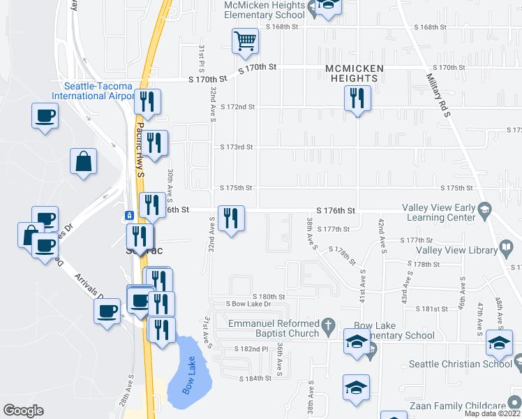 map of restaurants, bars, coffee shops, grocery stores, and more near 34th Avenue South in SeaTac