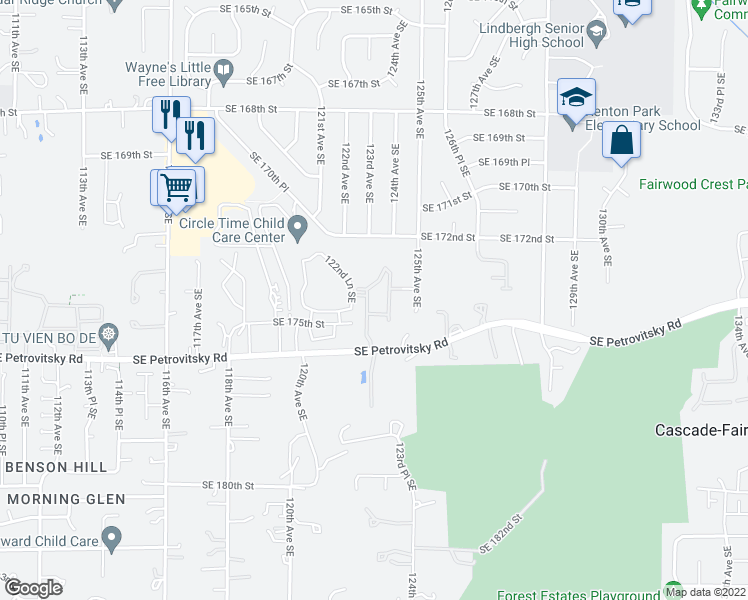 map of restaurants, bars, coffee shops, grocery stores, and more near 12210 Southeast Petrovitsky Road in Renton
