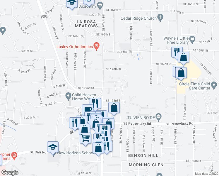 map of restaurants, bars, coffee shops, grocery stores, and more near 10833 Southeast 172nd Street in Renton