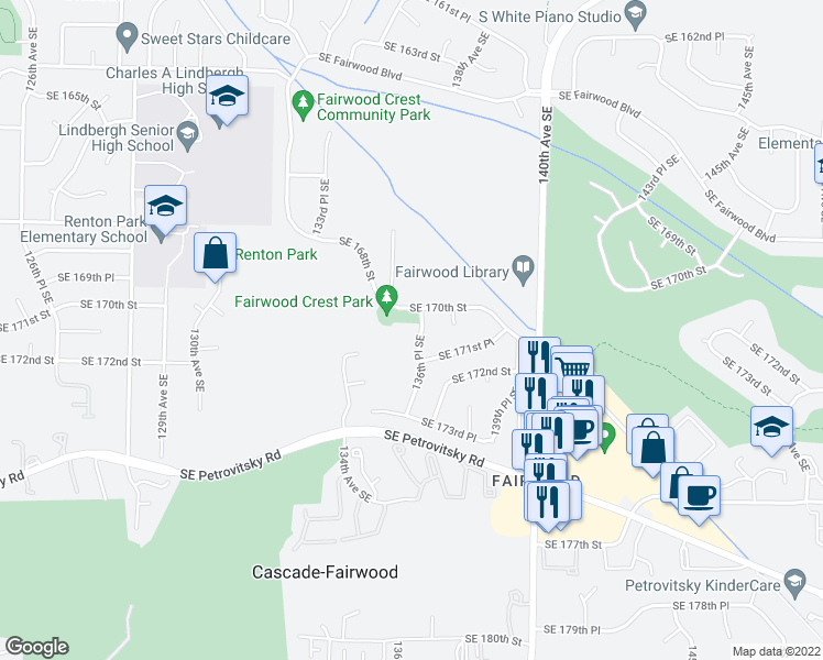 map of restaurants, bars, coffee shops, grocery stores, and more near 17019 136th Place Southeast in Renton