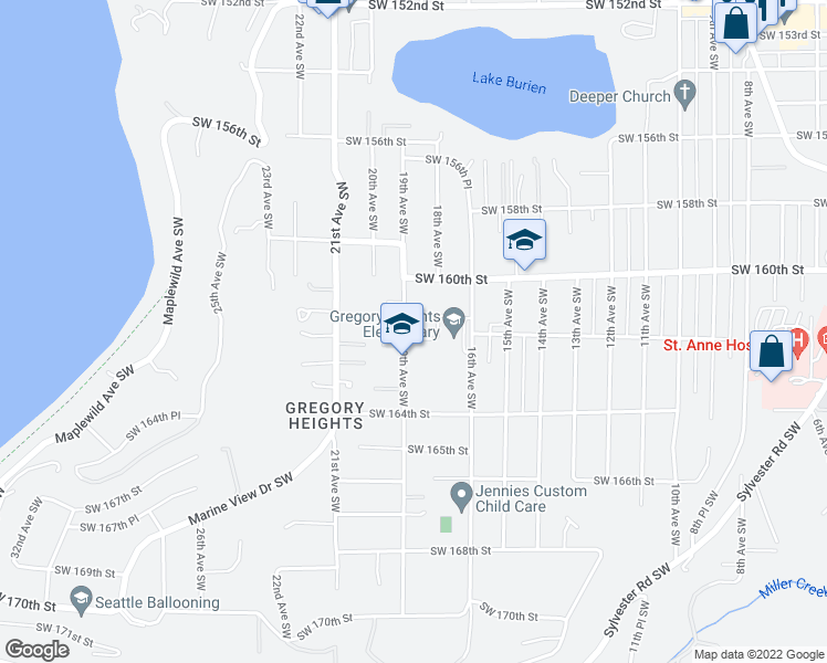 map of restaurants, bars, coffee shops, grocery stores, and more near 16048 19th Avenue Southwest in Burien