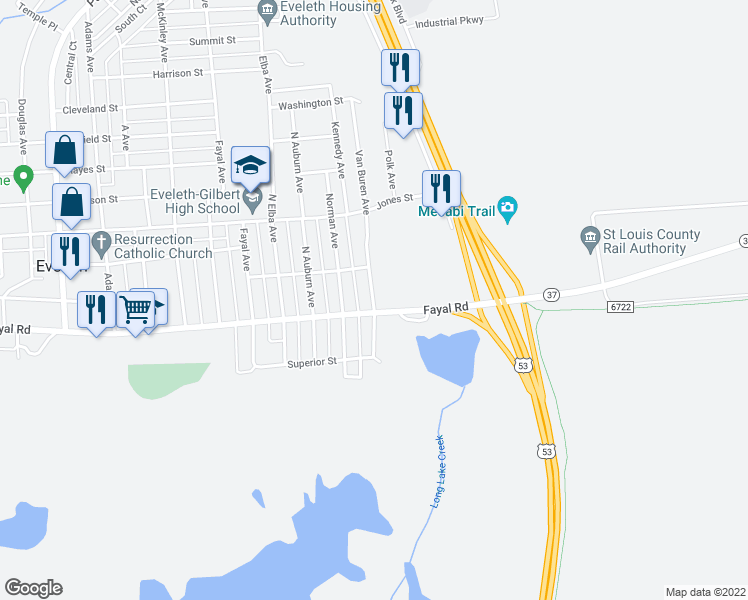 map of restaurants, bars, coffee shops, grocery stores, and more near 130 Van Buren Avenue in Eveleth