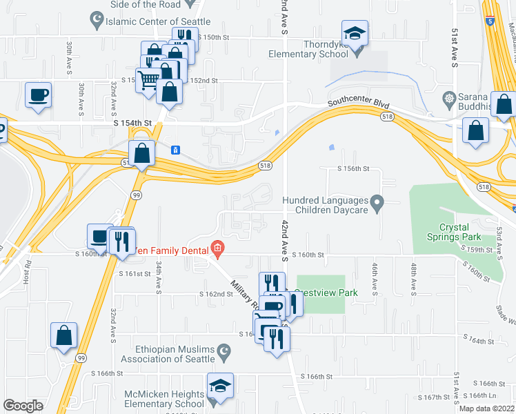 map of restaurants, bars, coffee shops, grocery stores, and more near 4024 South 158th Street in Tukwila