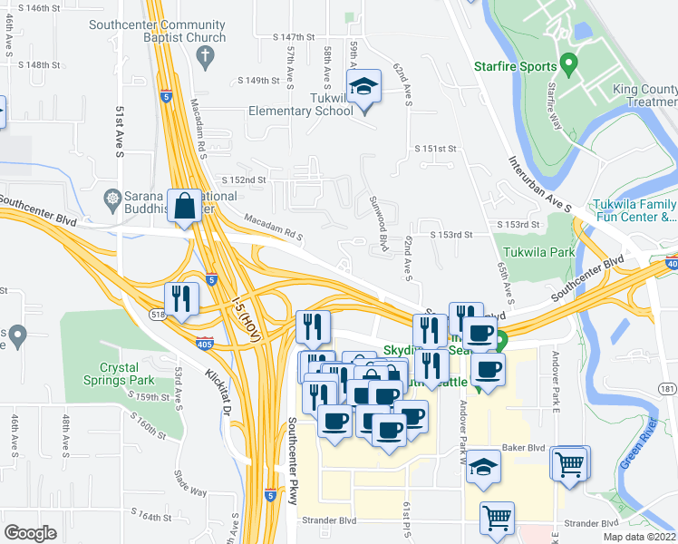 map of restaurants, bars, coffee shops, grocery stores, and more near 5700 Southcenter Boulevard in Tukwila